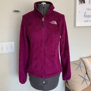 North Face magenta fleece zip up jacket